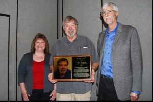 Bob Elliott, & Charlene Jewell presenting  Joe Smilanick with Salter Award
